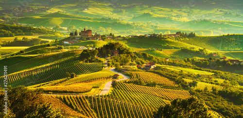 Cadres-photo bureau Miel Langhe vineyards sunset panorama, Grinzane Covour, Piedmont, Italy Europe.