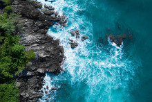 Aerial Drone Top View Of Ocean...