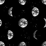 Seamless pattern with hand drawn moons - 276213213