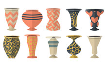 Set Of Flat Ceramic Vases With Patterns, Ornaments Isolated On White Background. Vector Illustration.