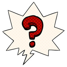 Cartoon Question Mark And Speech Bubble In Comic Book Style