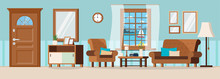 Cozy Living Room With Furniture, Closed Door, Window View Of Summer Seascape And Sailboat. Sofa, Armchair, Wall Clock, Mirror, Coffee Table, Lamp, Books, Vase. Flat Cartoon Style Vector Illustration.