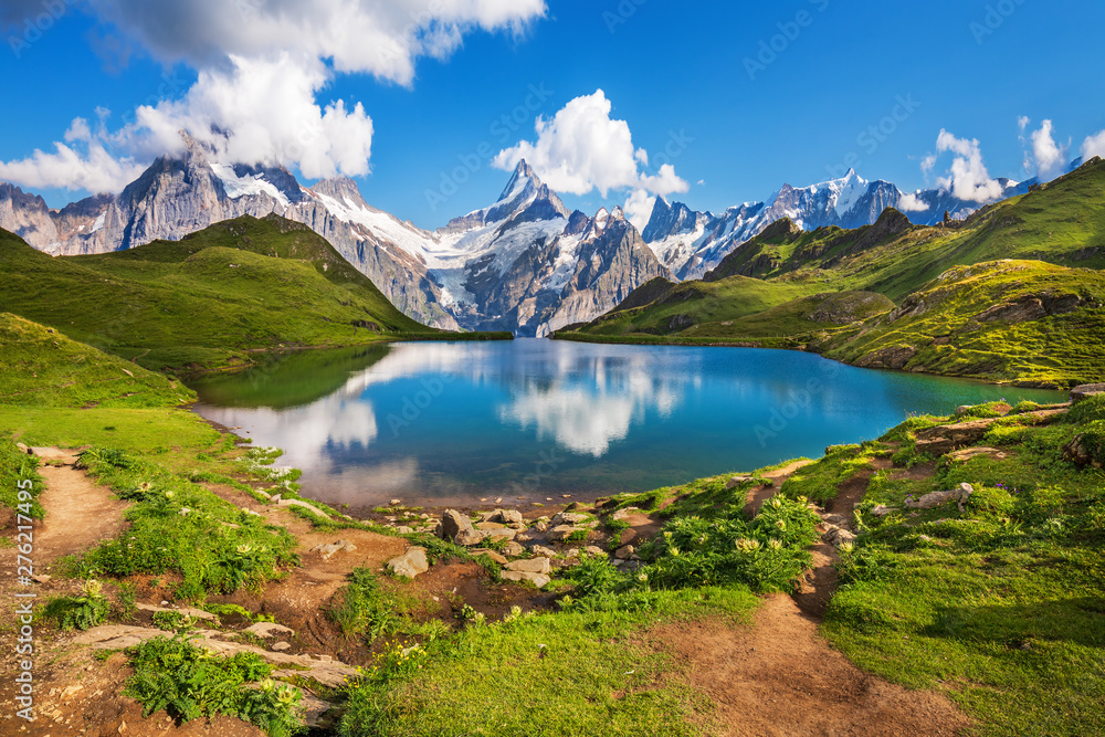 Fototapety, obrazy: Scenic view on Bernese range above Bachalpsee lake. Popular tourist attraction. Location place Swiss alps, Grindelwald valley, Europe.