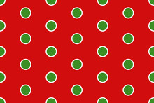 Vector Christmas Background. Red And Green Polka Dot Pattern.