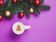 Leinwanddruck Bild - cappuccino and christmas gifts with pine branch on violet background.