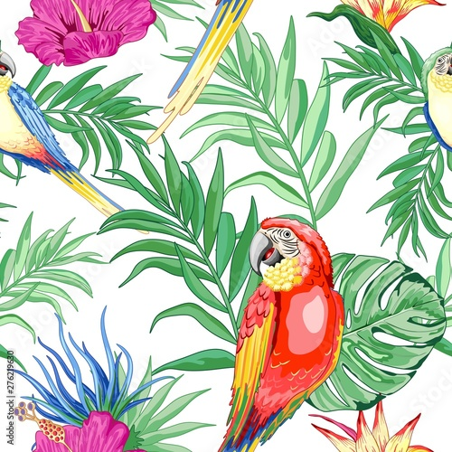 Foto auf Gartenposter Ziehen Macaws Parrots Exotic Birds and Nature Summer Vector Seamless Pattern Textile Design