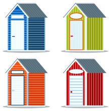 Set Of Different Simple Multicolor Wooden Or Pvc Plastic Beach Huts With Empty Sign Icon Isolated On White Background. Summer Elements Graphic Desing Collection. Vector Illustration Flat Cartoon Style