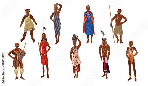 Photo Set of aborigine woman and man from africa sunny continent