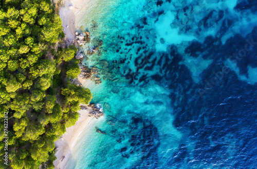 Türaufkleber Blaue Nacht Croatia. Panoramic coast as a background from top view. Turquoise water background from top view. Summer seascape from air. Travel - image