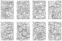 Set Of Mushrooms Coloring Antistress Book Page