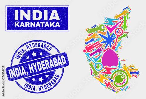 Mosaic tools Karnataka State map and India, Hyderabad stamp ... on madras india map, andhra pradesh map, bengalor india map, new delhi, jaipur india map, dhaka india map, kabul india map, nagpur india map, madurai india map, karimnagar india map, andhra pradesh, taj mahal india map, lucknow india map, godavari river map, ahmedabad india map, kanpur india map, tamil nadu, surat india map, kolkata india map, varanasi india map, agra india map, bangalore india map, pune india map,
