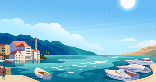 Spoed Foto op Canvas Blauw Vector flat landscape illustration of beautiful nature view: sky, mountains, water, cozy European town houses on sea coast. For travel banner, card, vacation touristic advertising, brochure, flayer.
