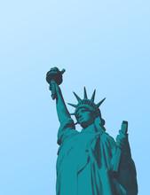 Green Engraving Liberty Illustration Isolated On Blue Sky BG