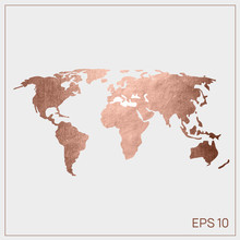 Vector World Map Pink Gold. EP...