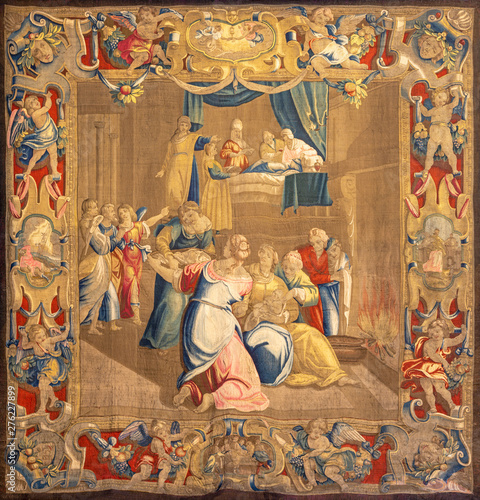 COMO, ITALY - MAY 8, 2015: The tapestry of Nativity of Virin Mary in the Temple in Cathedral (Duomo di Conmo) designed probably by Giovanni Battista Recchi from 17. cent.