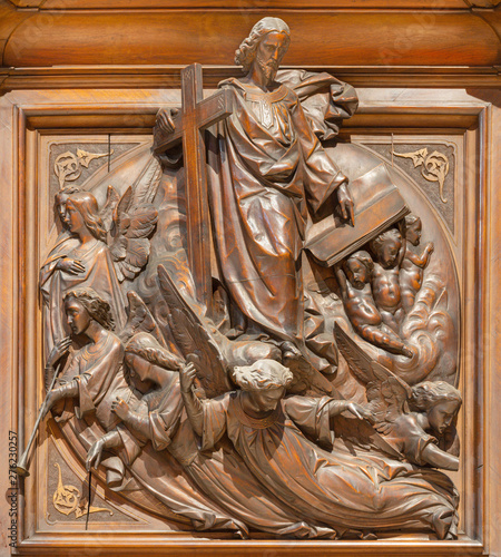 COMO, ITALY - MAY 8, 2015: The carved wooden relief of Last Judgment on the pulpit of church Santuario del Santissimo Crocifisso by Ezechiele Trombetta (1858).