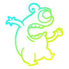 Cold Gradient Line Drawing Cartoon Green Alien