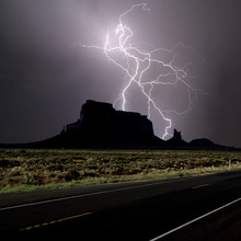 Composite Photo Of Lightning Striking Behind Eagle Mesa Off Highway 163 In 2016, Near Monument Valley, Utah
