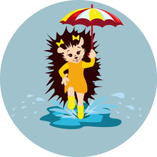 Vector Image Of A Hedgehog With An Umbrella In His Hand. From A Series Of Illustrations With A Hedgehog