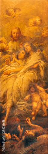 CATANIA, ITALY - APRIL 7, 2018: The painting of Jesus and the souls of Purgatory in church Chiesa dei Minoriti by Francesco Mancini Ardizzone from end of 19. cent.