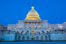 View Of The United States Capitol Building At Dusk, Washington D.C.