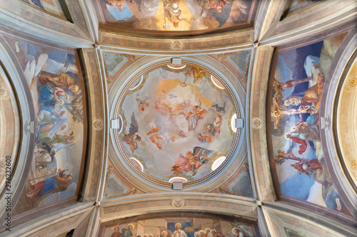 COMO, ITALY - MAY 9, 2015: The frescoes in the cupola of church Chiesa di San Andrea Apostolo (Brunate) of by Mario Albertella (1934).