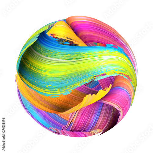 3d render, round shape made of abstract brush strokes, paint splash, splatter, colorful curl, artistic spiral, vivid ribbon