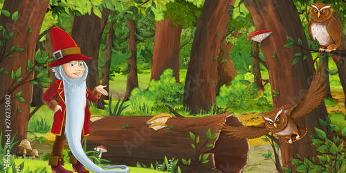 cartoon scene with happy dwarf boy prince in the forest encountering pair of owls flying - illustration for children