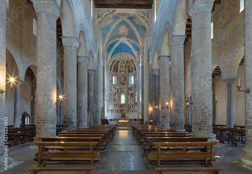 COMO, ITALY - MAY 9, 2015: The church Basilica di San Abbondio with the medieval frescoes by unknown artist