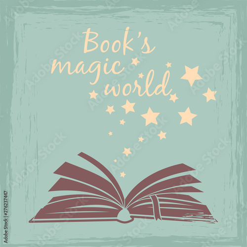 Books magic worlds vintage poster or card vector illustration Wall mural
