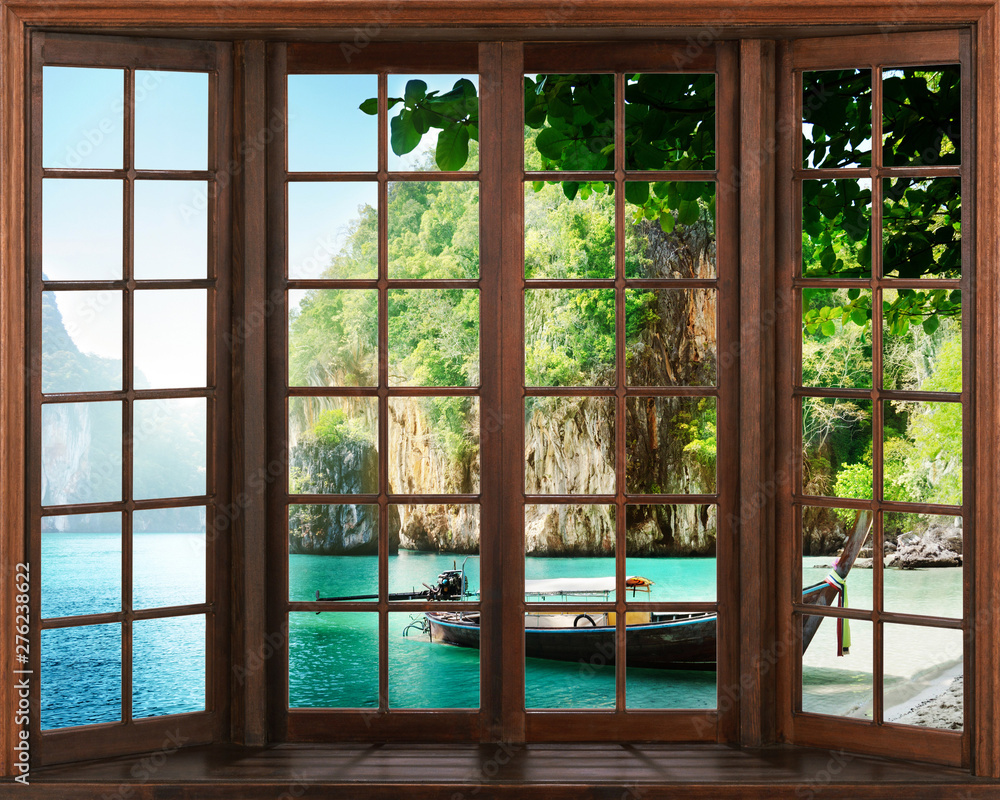 Fototapety, obrazy: view from the window. Silhouettes of window with a curtain, river view background