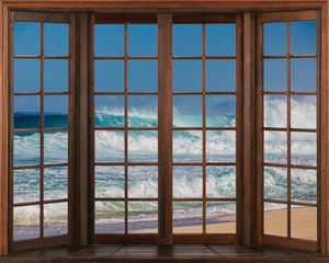 Panel Szklany Otwarte okna Beautiful view of sea from the window. Window Views with relaxing sounds of waves