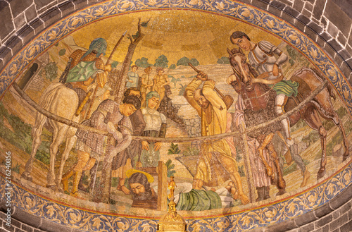 BELAGGIO, ITALY - MAY 10, 2015: The mosaic of Martyrdom of St. James the Less in church Chiesa di San Giacomo by Venetian school from end of 19. cent.
