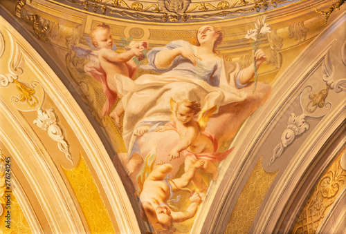 COMO, ITALY - MAY 8, 2015: The fresco of cardinal virtue of Love in church Santuario del Santissimo Crocifisso by Carlo Inncenzo Carloni (first half of 18. cent.).