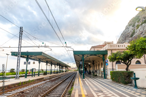 Taormina, Italy - May 14, 2018: Taormina Giardini Naxos railway station (Stazione di Taormina-Giardini), small railway station situated in 1 km away well below the Taormina old town, Sicily, Italy