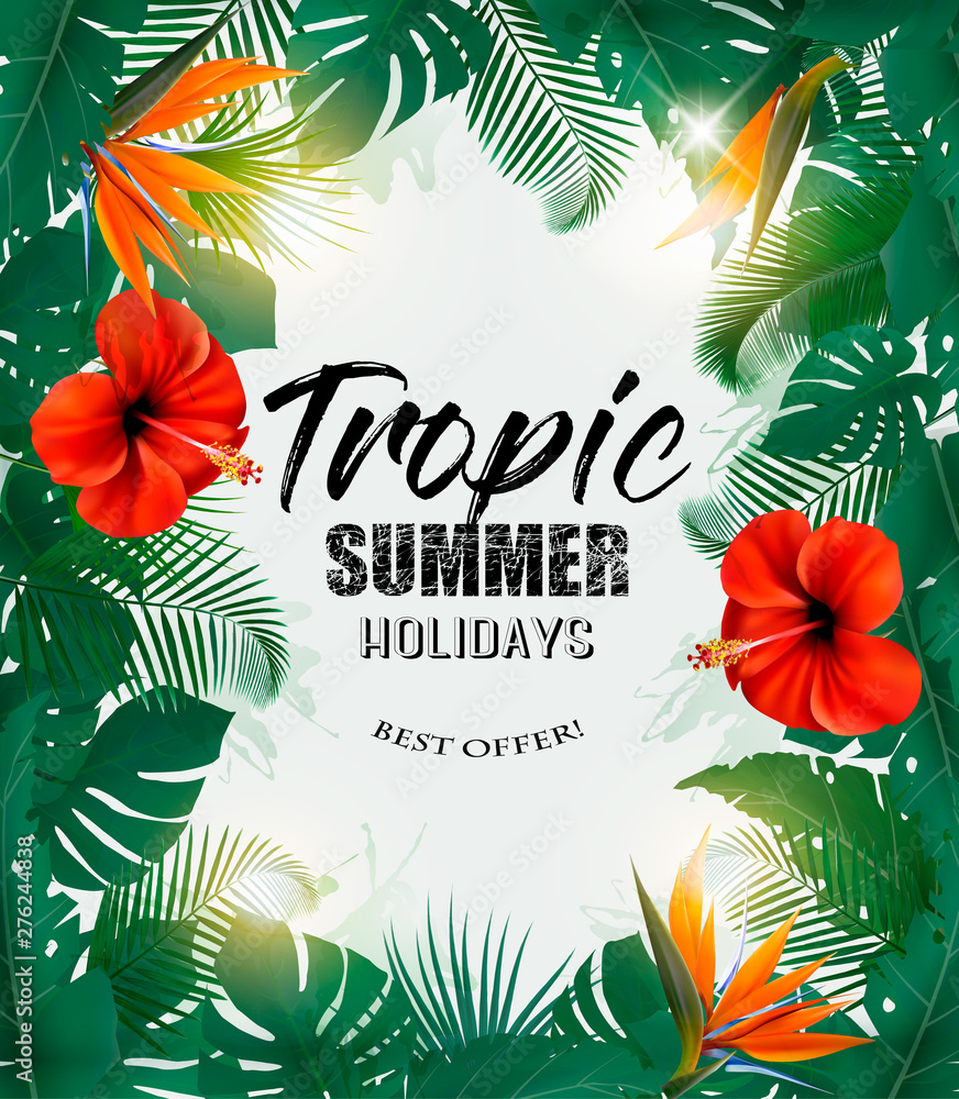 Fototapety, obrazy: Summer Holiday Background With Tropical Plants And Coloful Flowers. Vector