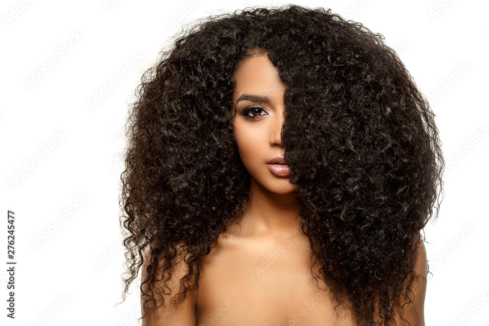 Fototapeta Beauty black skin woman African Ethnic female face. Young african american model with long afro hair. Lux model.