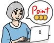 パソコン 女性 ノートパソコン 人物 ポイント コイン