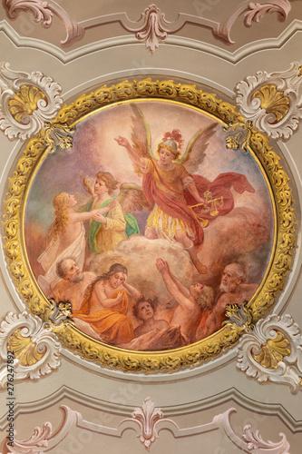 MENAGGIO, ITALY - MAY 8, 2015: The neobaroque fresco Last judgment in church chiesa di Santo Stefano by Luigi Tagliaferri (1841-1927).