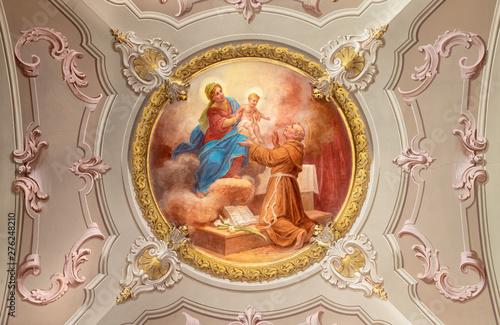 MENAGGIO, ITALY - MAY 8, 2015: The neobaroque fresco of Anthony of Padua in church chiesa di Santo Stefano by Luigi Tagliaferri (1841-1927).