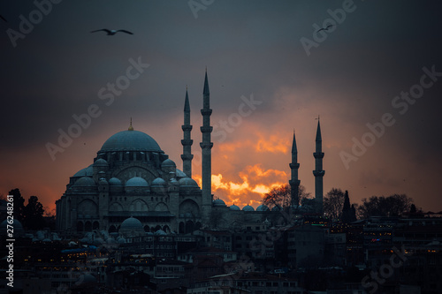 Photo  Suleymaniye Mosque at Sunset (Istanbul, Turkey)