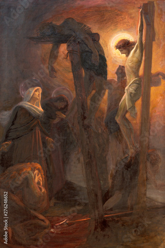 COMO, ITALY - MAY 8, 2015: The painting of Crucifixion in church Santuario del Santissimo Crocifisso as the part of Via Crucis by Pnziano Loverini (1917).