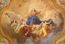 COMO, ITALY - MAY 8, 2015: The Ceiling Fresco Of Assumption Of Virgin Mary In Church Santuario Del Santissimo Crocifisso By Gersam Turri (1927-1929).