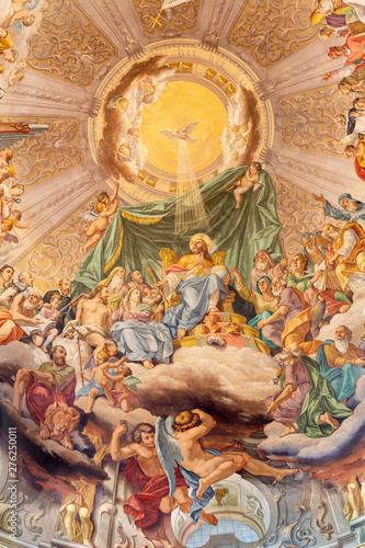 COMO, ITALY - MAY 8, 2015: The fresco of Glory of Christ the King in church Santuario del Santissimo Crocifisso by Gersam Turri (1927-1929).
