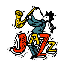 Handdrawn Jazz Music Party, Jazz Festival Or Live Concert. Musical Event Labels Or Emblems With Guitar, Saxophone, Retro Gramophone, Trumpet. Vector Collection.