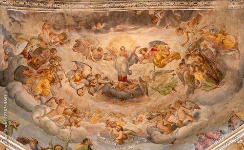 COMO, ITALY - MAY 8, 2015: The fresco of Assumption of Virgin Mary in church Basilica di San Fedele by Vincenzo de Bernardi da Claino (1846).