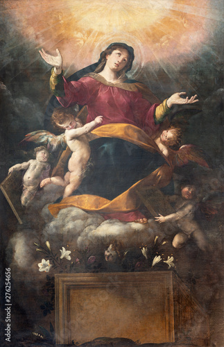 COMO, ITALY - MAY 8, 2015: The painting of Assumption of Virgin Mary in church Basilica di San Abbondio by Giovani Battista Crespi (1573 - 1632).