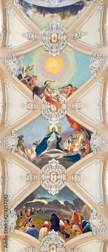 CATANIA, ITALY - APRIL 6, 2018: The ceiling fresco from life of Virgin Mary in church Basilica Maria Santissima dell'Elemosina by Giuseppe Sciuti (1896).