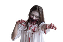 Scary Asian Female Zombie Isol...