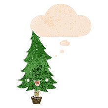 Cute Cartoon Christmas Tree And Thought Bubble In Retro Textured Style
